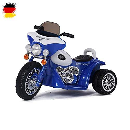 Kinder Elektro Motorrad Polizeimotorrad Chopper 'Police-Edition' mit Beleuchtung, Soundeffekt, 6V Power Akku und Motor