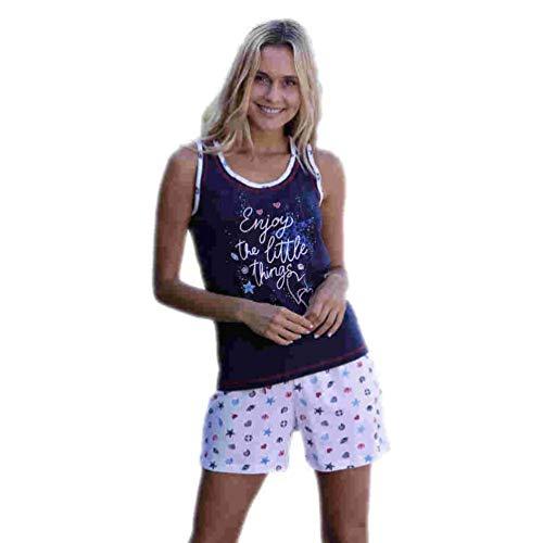 Massana Pijama de Mujer de Tirantes P201201 - Marino, XL