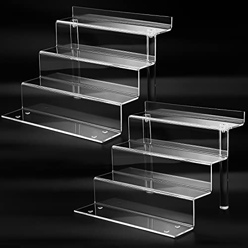 Clear Acrylic Display Riser Shelves forFunko POP, Perfume Organizer and Pokemon Amiibo FNAF Action Figures Holder, 9 in CakeCandy Dessert Shelf, Collectibles Display Stand in Cabinet - 2 Pack