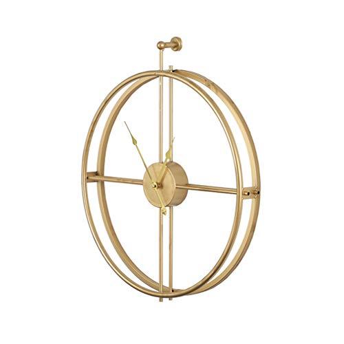 LIPENGWEI Personalidad Moderna Grande Paredes Anillo Relojes De Pared,Dorado Casa Salón Dormitorio Decoración Silencia El Reloj-Dorado 52cm De Diámetro