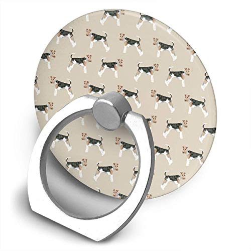 ARRISLIFE Wire Fox Terrier Dog Pattern For Dog Person Dog Breeds Pet Soporte para teléfono,Round-Shaped Soporte para Anillo de teléfono Celular,360 Degrees Rotating Soporte de Metal