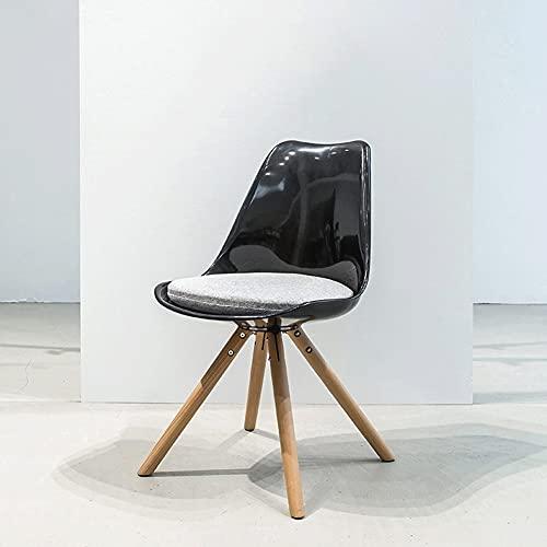 AJMINI Esszimmerstühle, Esszimmer-Küchenstühle, Mitte des Jahrhunderts Holz verdickt ABS Side Chair, für Küche, Wohnzimmer, Schlafzimmer, Schwarz (Color : B)