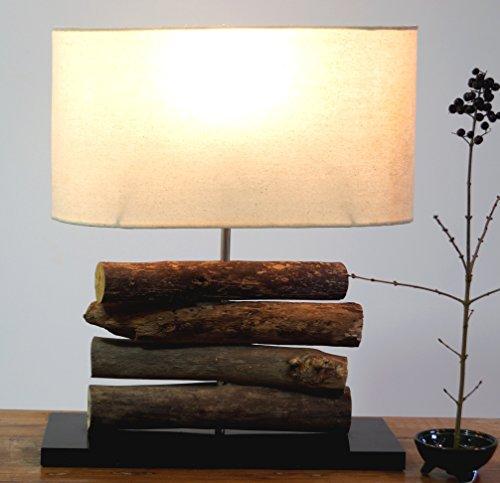 Guru-Shop Tischlampe/Tischleuchte Mukata, in Bali Handgemachtes Unikat aus Naturmaterial, Treibholz, Baumwolle - Modell Mukata, 42x34x16 cm, Dekolampe Stimmungsleuchte
