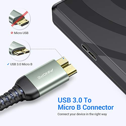 USB 3.0 A Male to Micro B Cable (2 Pack / 3.3FT+6.6FT) Fast Charging for Galaxy S5, AINOPE Nylon Braided Seagate External Hard Drive Cable Compatible with Samsung Galaxy Note 3, Camera, WD Hard Drive