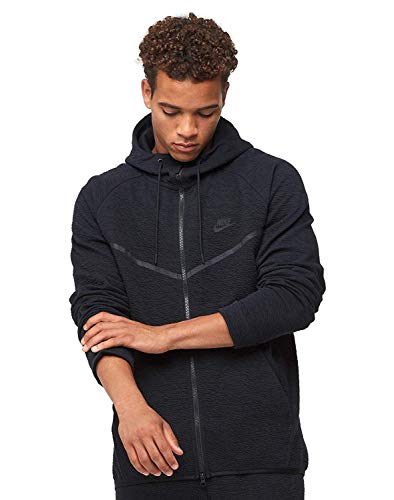 Nike Mens Tech Fleece Icon Textured Full Zip Windrunner Jacket Black/Black 929121-010 Size Small