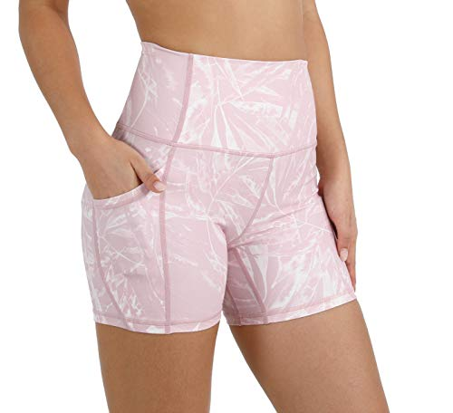 "ODODOS Women's 5"" High Waist Pattern Workout Bike Shorts, Yoga Running Compression Exercise Biker Shorts with Out Pockets, Plus Size, Pink Tropical, XXX-Large"