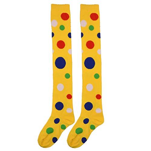 Amosfun Clown Kostüm Socken über Kniestrümpfe Spaß Polka Dot Strumpf für Weihnachten Karneval Party Erwachsene Cosplay Tanz verkleiden Sich (gelb)