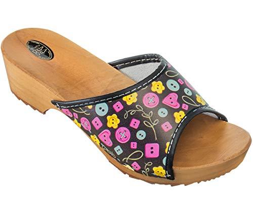 ESTRO Zuecos De Madera Para Mujer Calzado Sanitario De Trabajo CDL04 (Botones, numeric_41)