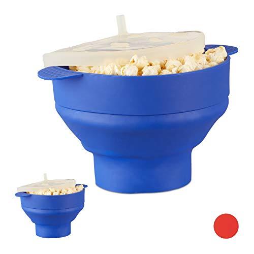 Relaxdays 2 x Popcorn Maker Silikon für Mikrowelle, zusammenfaltbarer Popcorn Popper, Zubereitung ohne Öl, BPA-frei, blau