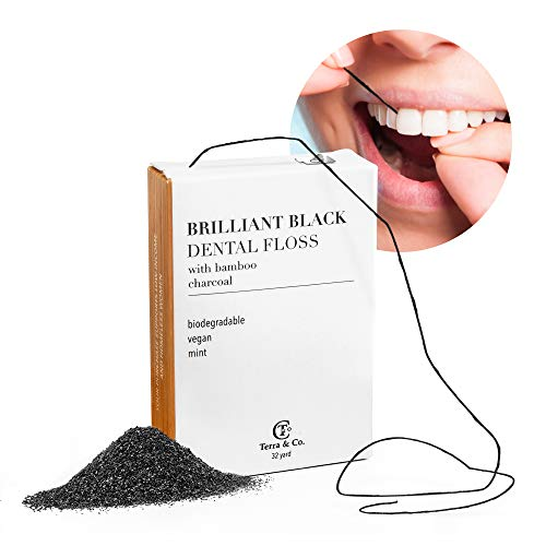 Brilliant Black Dental Floss for Teeth-Whitening, Natural with Activated Bamboo Charcoal for Whiter Teeth (Vegan Candelilla Wax, Coconut Oil, Peppermint Essential Oil) - Terra and Co.