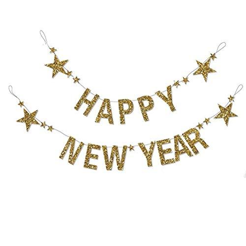 BESTOYARD - Guirnalda con Purpurina, diseño con Estrellas y Texto Happy New Year Girlande