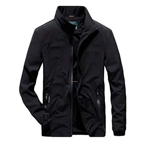 Plot Herren Winterjacke Warm Einfarbig Freizeitjacke Übergangsjacke Stehkragen Modern Männer Große Größe Outdoor Sportjacke Softshell Jacke M-6XL