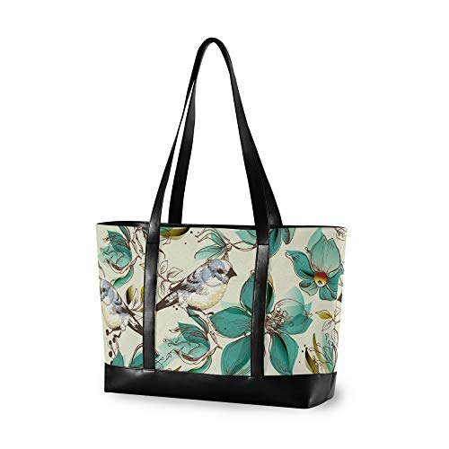 RELEESSS Tote Laptop Bags Vintage Flower Bird Handbag Shoulder Bag Laptop Case for Women Ladies Girls