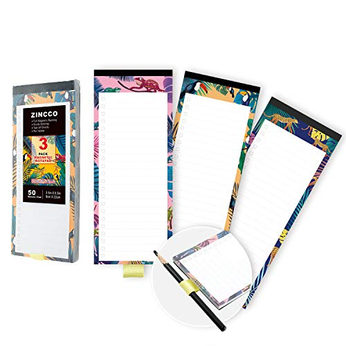 3 Pack Magnetic Notepads with Pen Holder for Fridge, Full Magnetic Back, To Do List, Grocery Shopping, 3.5 x 8.5 Inches, 50 Sheets, Safari Animals Theme, Memo Pad for Fridge, Locker, File Cabinet, etc