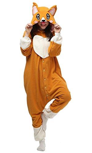 Adult Corgi Onesie Pajamas One-Piece Animal Cosplay Costume (M, Orange)