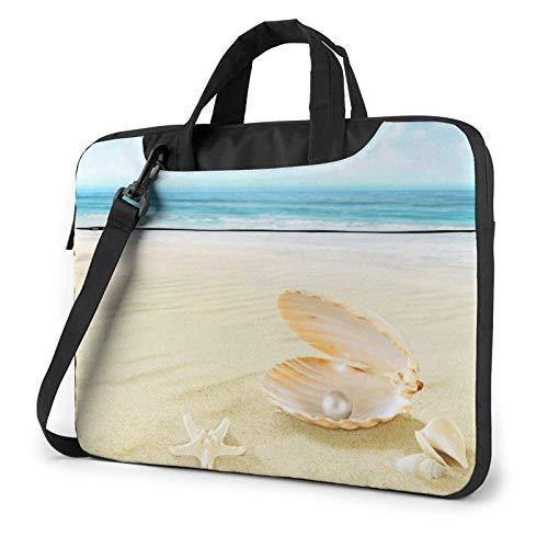 Bolso de Hombro para computadora portátil con Estampado de Concha de Estrella de mar y Playa, maletín para computadora portátil, Bolso de Mensajero de Negocios