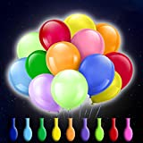 50 Pack LED Light Up Balloons, Zodight 9 Colors Flashing Lights Glow Latex Balloons for Party Birthday Wedding Festival Decorations, Fillable with Helium or Air