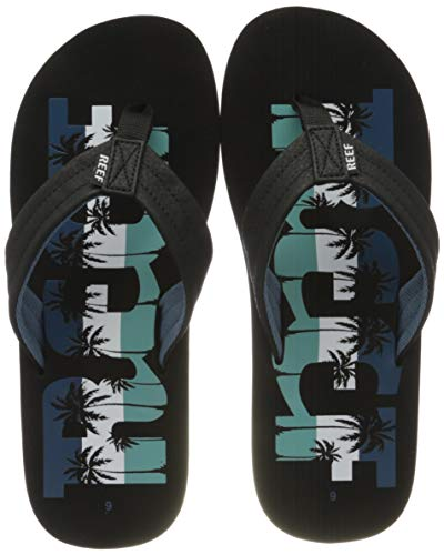 Reef Mens Waters Fashion casual Flip-Flop,  Navy Palm,  8 UK