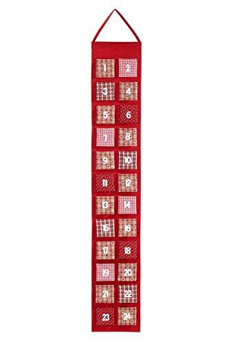 HEITMANN DECO Adventskalender zum Aufhängen und selbst Befüllen - Filz Weihnachtskalender Kinder - Rot, Beige, Weiß