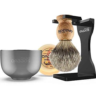 "Shaving Set, Anbbas 4IN1 Pure Badger Hair Shaving Brush Solid Manchurian Ash Wood Handle,Black Broken-Resistant Acrylic Shaving Stand,Stainless Steel Shaving Bowl Dia 3.2"" and Goat Milk Soap 100g"