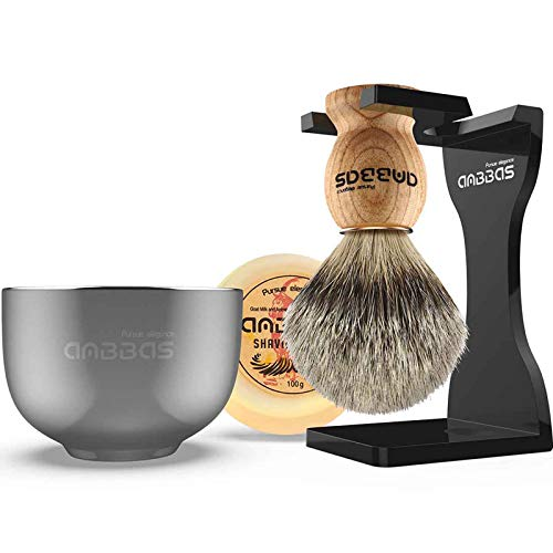 Shaving Set, Anbbas 4in1 Pure Badger Hair Shaving Brush Solid Manchurian Ash Wood Handle,Black Broken-Resistant Acrylic Shaving Stand,Stainless Steel Shaving Bowl Dia 3.2 inch and Goat Milk Soap 100g