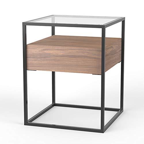 Damiware Baily Design Nachttisch / Glastisch / Beistelltisch / Sofatisch / Kaffeetisch aus Metall (Schwarz), Glas & Holz (Walnuss Naturholz) | Kleiner Wohnzimmertisch / Couchtisch in 40x40x54 cm eckig