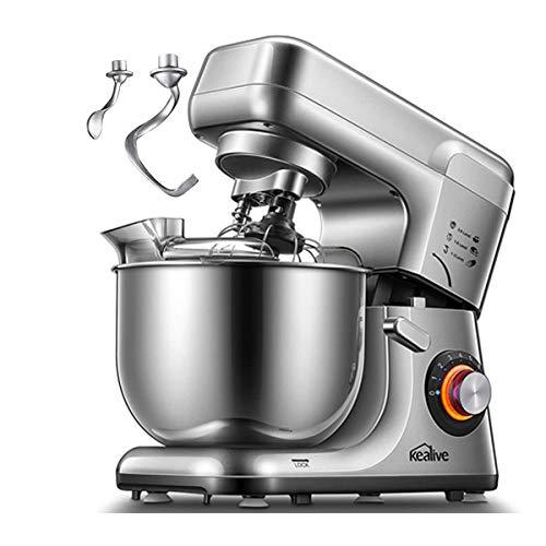 Kealive Küchenmaschine, Doppelten Knethaken & 8 Geschwindigkeiten Knetmaschine mit 1200W&5.5L, Edelstahlschüssel, Rührbesen, Knethaken, Schlagbesen, Spritzschutz, Silber