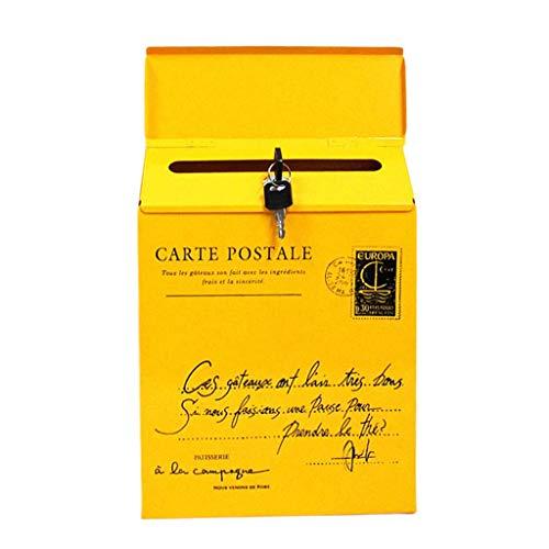 Caja de Correos Revistas, Buzón de Correos de Pared - Amarillo_ Letras pequeñas