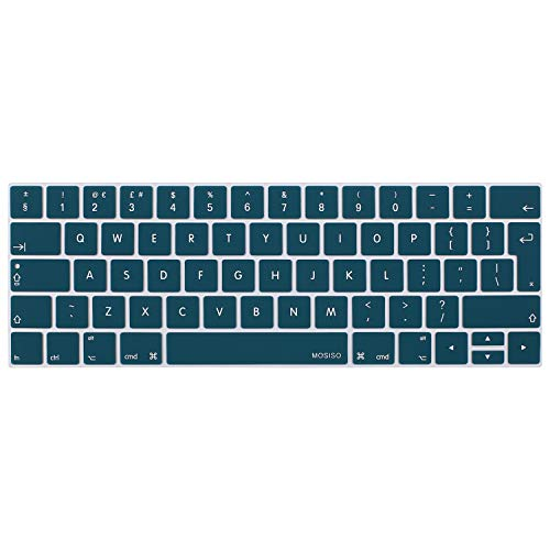 MOSISO Keyboard Cover Compatible with MacBook Pro with Touch Bar 13 and 15 Inch 2019 2018 2017 2016 (Model: A2159, A1989, A1990, A1706, A1707), Silicone Skin Protector (Europe Layout), Deep Teal