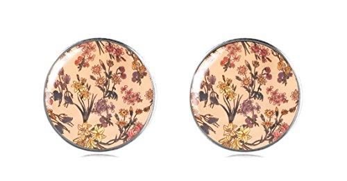 Tizi joyas plata de ley 925 Beige flores pendientes studs 12 mm hecha a mano para las mujeres y las niñas