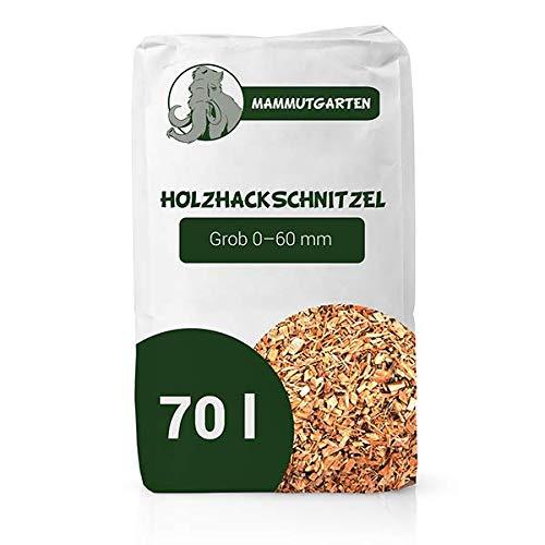 MammutGarten Holzhackschnitzel Natur Kiefer Holz Mulch Garten Grob 0-60mm 70l Sack