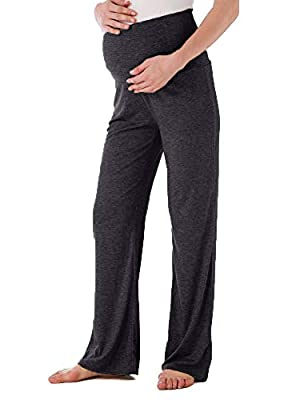Ecavus Women's Maternity Wide/Straight Versatile Comfy Palazzo Lounge Pants Stretch Pregnancy Trousers Charcoal