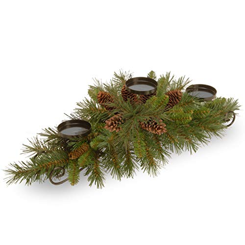 National Tree 30 Inch Pine Cone Collection Centerpiece with 3 Candle Holders and 6 Pine Cones (PC3-800-30C-B-3)