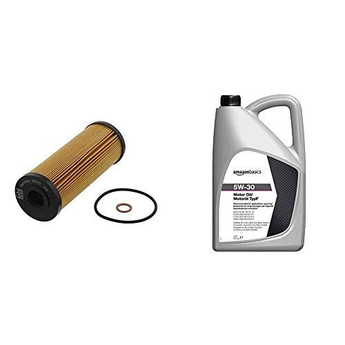 febi bilstein 32549 Ölfilter mit Dichtringen , 1 Stück & Amazon Basics – Motorenöl 5W-30 Typ F, 5 l