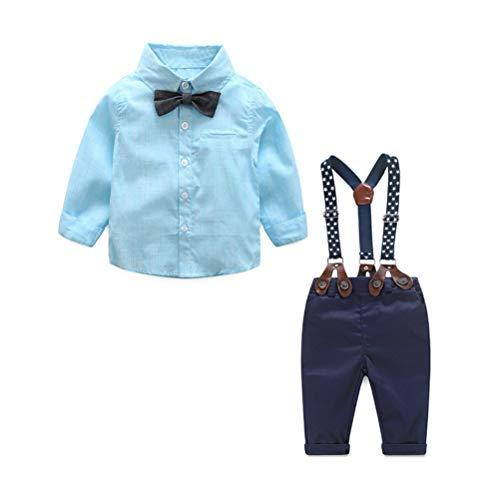 Odziezet Pantalones con Tirantes Bebe Niño Niña Camisa de Cuadros Conjunto Trajes...