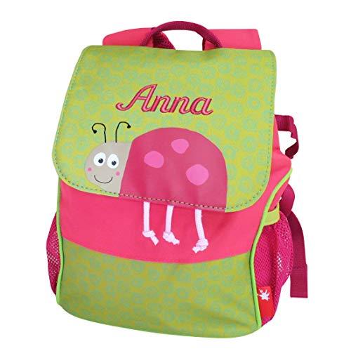 Sigikid Kindergarten-Rucksack Käfer mit Namen bestickt pink grün 28 cm x 16 cm x 24 cm Kinderrucksack personalisiert für Kiga Kita