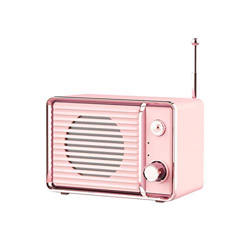 GANE Altavoces Bluetooth Radio portátil Vintage USB Lindo Viaje Recargable Audio Inalámbrico Surround Mini Retro Heavy Bass Teléfono móvil Rosa