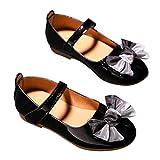 DEBAIJIA Princess Niñas Zapatos 2-9 Años Zapatillas Moda Niños Clásico Hermosa Flor Tendencia Fondo Suave Cuero Baile Caminar EU 27 Negro(Tamaño Etiqueta 26)