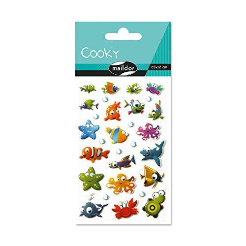 Maildor 560384C Packung mit Stickers Cooky 3D (1 Bogen, 7,5 x 12 cm, ideal zum Dekorieren, Sammeln oder Verschenken, Meerestiere) 1 Pack
