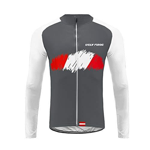 UGLY FROG Fahrradtrikot Herren Langarm Thermo Radtrikot Pro/Windstopper/Atmungsaktiv/Fleece/Reflektoren/Full Zip/Warm Mantel