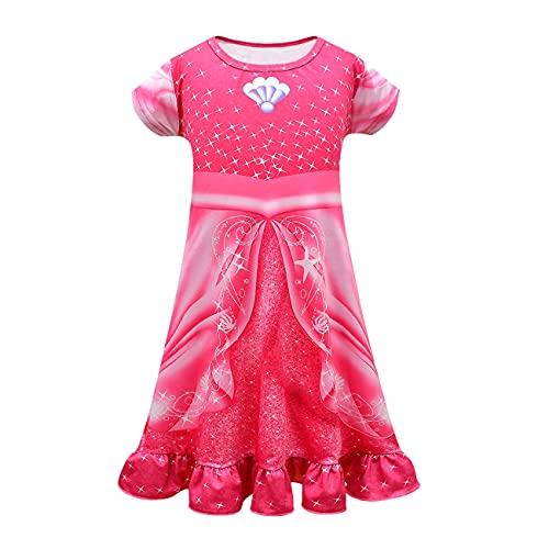 Ariel - Pijama Ariel para niñas, camisón, camisón, ropa de dormir para niños, disfraz de sirenita, rosa (b), 130 cm