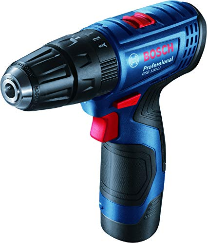 Bosch 06019G81K2 GSB 120-LI Cordless Drill Driver with 12V Double battery (Blue)