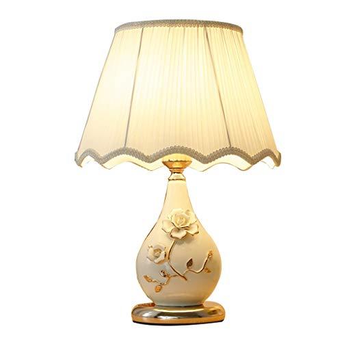 Iluminación de interior Cerámica del dormitorio lámpara de mesa de noche lámpara moderna minimalista hogar creativo Plug-in Mesilla de noche de la lámpara de la lámpara de Aprendizaje Lámparas de mesa