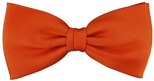 TigerTie vorgebundene Satin Fliege in orange leuchtorange Uni einfarbig + Geschenkbox