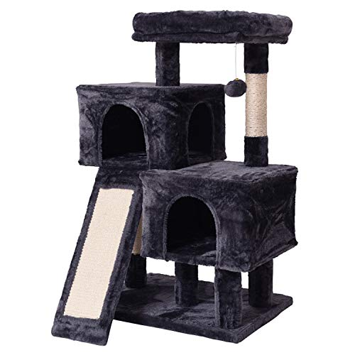 JISSBON Cat Tree Cat Tower with Sisal-covered Scratching Post and Ladder, Padded Plush Perches & Condos for Kittens, Large Cats, Grey