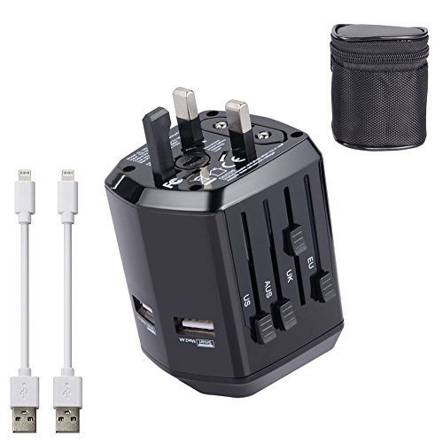SULCATA International Travel Power Adapter with 2 USB 2.4A Charger & Worldwide...