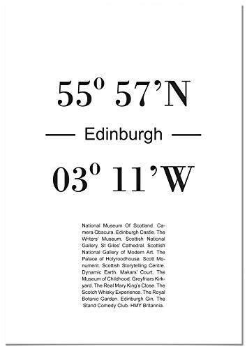 Panorama Póster Coordenadas Ciudad de Edimburgo 21 x 30 cm - Impreso en Papel 250g - Cuadros Decoración Salón - Cuadros Dormitorio - Póster Decorativos - Cuadros Modernos