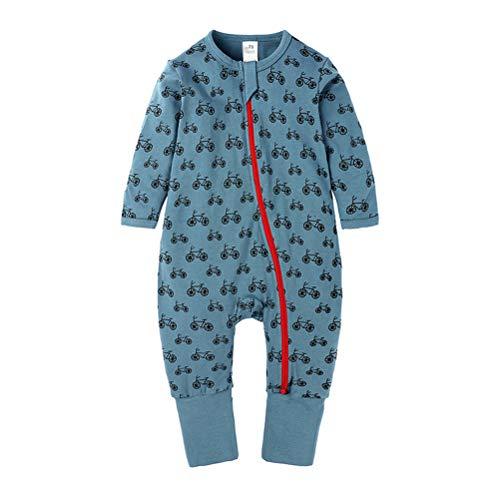 DQCUTE Baby Jungen Mädchen Reißverschluss Langarm Pyjama Spielanzug Baumwolle Strampler Cartoon Footed Overall für Neugeborenes Fahrrad 18-24 Monate