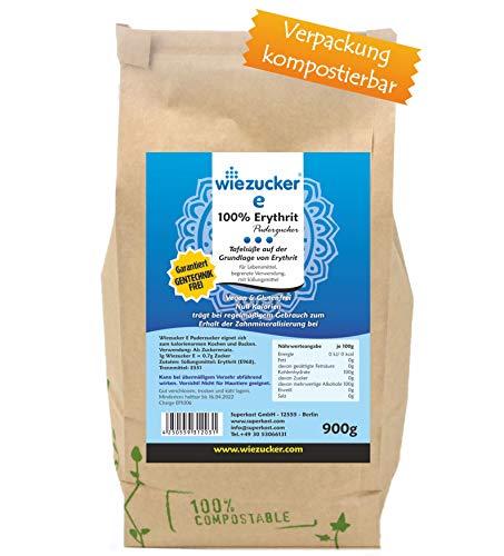 Wiezucker Erythrit Puderzucker, kalorienfreier Zuckerersatz in Plastikfreier Verpackung 1er Pack (1 x 900g)