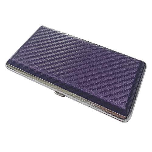 プルームテック ケース (カーボンパープル) ハードケース PU レザー Ploom TECH PloomTECH ケース カバー スリム コンパクト シンプル 無地 合皮 電子タバコ 保護 収納 ホルダー キャリングケース